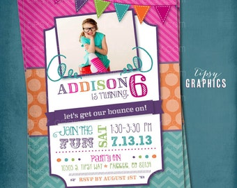 Fun & Colorful Craft Art Bounce House Birthday Party Photo invitation by Tipsy Graphics. Any text.