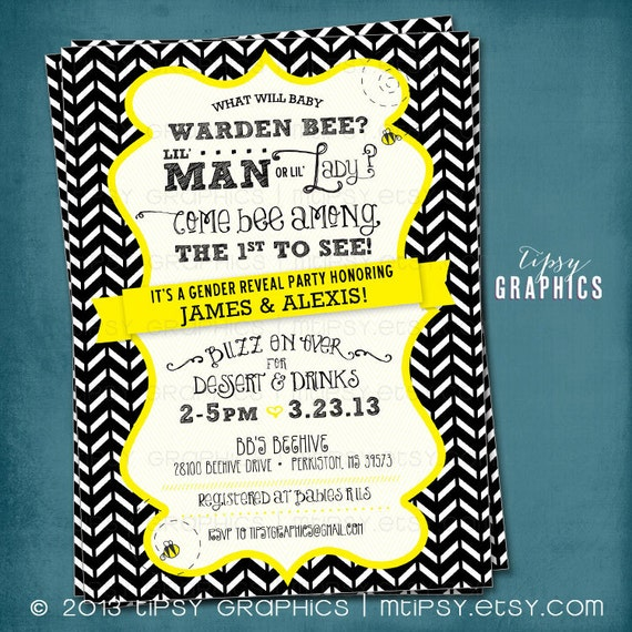 What Will It BEE Chevron Gender Reveal Bee Baby Shower Invite By