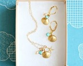 Little Golden Seashell Charm Necklace and Earrings SET