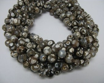 37 pcs 10mm round faceted hand paint agate beads