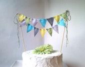 Cake Bunting Pennant Flags Cake Topper  Aqua, Grey, Sage Chartreuse, Lavender Birthday, Wedding Shower