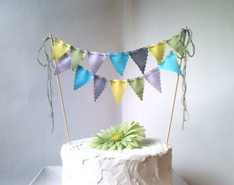 Cake Bunting Pennant Flags Cake Topper  Aqua, Grey, Sage Chartreuse, Lavender Birthday, Wedding Shower