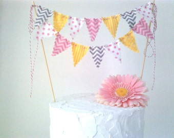 Cake Bunting Pink, Yellow and Grey Girly Circus Cake Topper Chevron and Dots