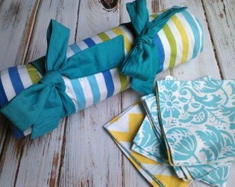 Picnic Blanket with 4 napkins - Modern Fabrics, yellow, blue, aqua - Wedding Gift