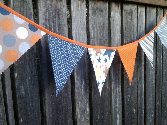Bunting Flags Party Decoration Giant Dots, Stars, Stripes, Houndstooth Navy Orange Grey Tan