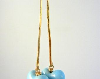 Gold Filled Earrings, Gold Earrings, Long Charm Earrings, Heart Earrings, Dangle Earrings