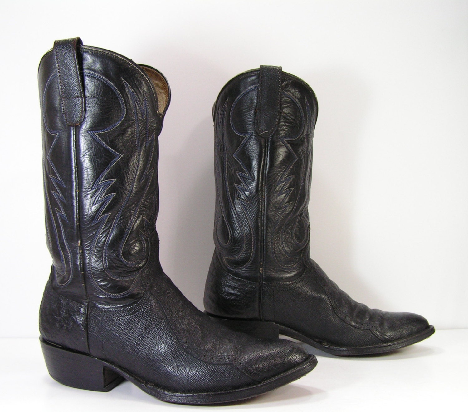 cowboy boots mens 9 d black shark skin western leather cowtown