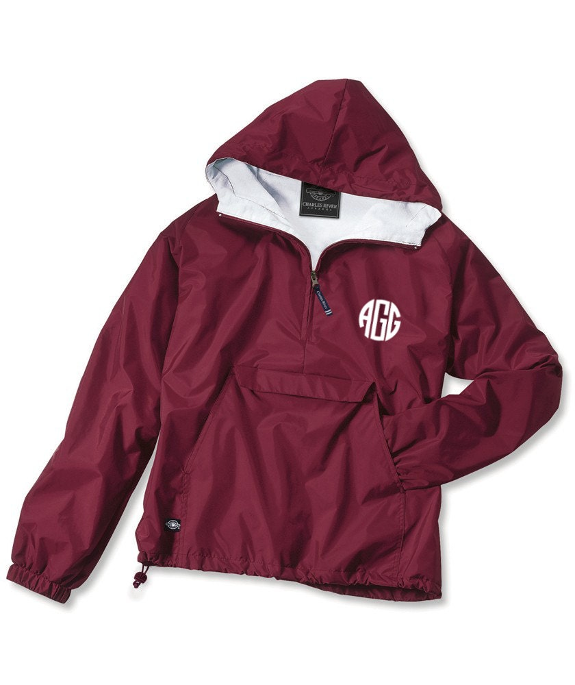 Cardinal Red Monogram Personalized Half Zip Rain Jacket