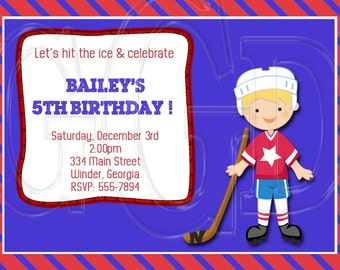 Hockey Invitation Birthday -Digital File