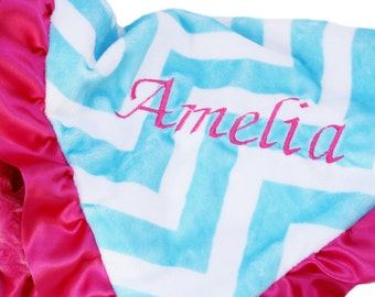 Minky Chevron Aqua and Hot Pink  Baby Blanket with Satin Ruffle Trim Stroller Size