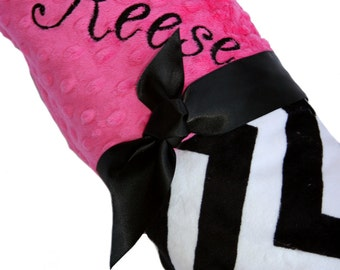 Black and White Chevron Minky Baby Blanket with Hot Pink Dot Minky Back Personalization Included over 35 fonts to choose fro