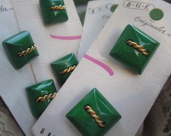 Vintage Green and gold Square Buttons Lot  (8) sailor style gold rope