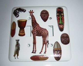 Safari themed double  light switch cover