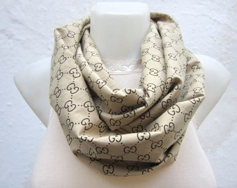 infinity scarf  Neckwarmer Necklace scarf Fabric scarf   Brown  Gift Ideas Women scarf