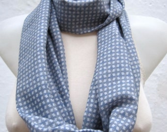infinity scarf Loop scarf Neckwarmer Necklace scarf Fabric scarf  Grey  Blue   Chiffon scarf