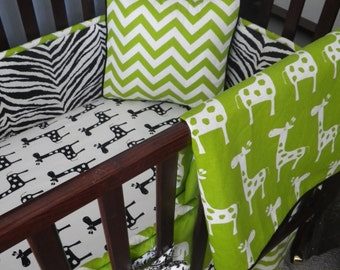 Custom Crib Bedding You Design   Bumper and Bedskirt in Black and Green