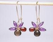 February birthstone earrings, faceted garnet, amethyst, smoky quartz 14K gold filled wire wrapped flower earrings grade AAA