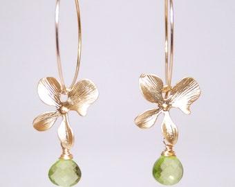 Peridot earrings, August birthstone earrings, Grade AAA peridot drop orchid 14K gold filled hoop earrings