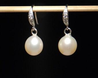Freshwater pearl earrings, sterilng silver earrings, high quality freshwater pearl earrings with cubic zirconia ear wires, jewelry gift