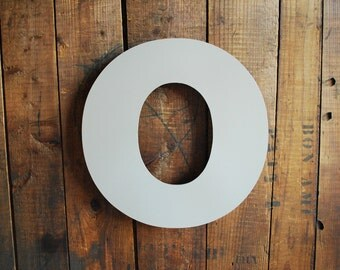 Large Metal Letter O, Cast Metal Letter Wired for Hanging, Big O Dove Grey