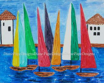 "Regatta 5x7 Signed Print with 2"" Border - Sailing-Lover's Gift, Sailboats, Regatta, Playroom & Kids Art, Venice, Nursery Art, Sailor's"