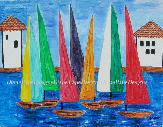 "Regatta 5x7 Signed Print with 2"" Border - Sailing-Lover's Gift, Sailboats, Regatta, Playroom & Kids Art, Venice, Nursery Art, Sailor's"