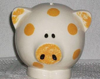 Ceramic Piggy Bank large yellow blue pink