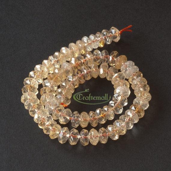 """Citrine 10x5mm faceted rondelle - set of 76 beads (15"""" strand)"""