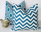Decorative Pillows TURQUOISE 16 inch Chevron Premier Prints Nicole Pillow Covers 16 x 16 inches Deep Teal Pillow set of TWO Feather IKAT