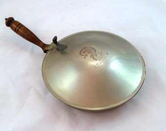 Mid Century Silver on Copper Silent Butler - Crumb Tray with Sea Monster Engraving