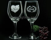 Set of 2 MOM and DAD WINE Glasses - Mommy and Daddy Gifts, Best Mom and Best Dad Gifts, Mother and Father Wine Glasses DistinctGlass