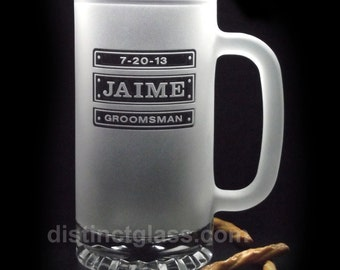Gifts for Groomsmen - FROSTED TRIPLE PLATE Beer Mugs with Title & Date - 16oz Etched Glass by Distinct Glass Studio