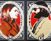Stenciled Margot and Richie Tenenbaum Prints