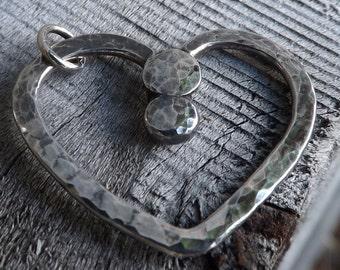Handmade Sterling Silver Heart Pendant Necklace, Modern Heart Pendant on Etsy.