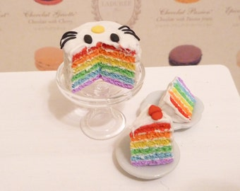 Miniature Dollhouse Hello Kitty Frosted Rainbow Cake