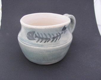 Mug Ceramic Pottery  Tea Cup Handmade Pottery Coffee Cup Fish Design Stoneware