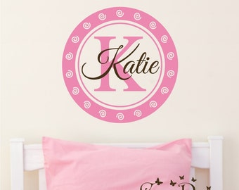 Custom Name and  Monogram, Custom Vinyl wall decals stickers, nursery, kids & teens room, removable decals stickers