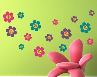 Flowers Set of 12, Fabric wall decals, Removable, reusable and repositionable fabric decal
