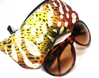 Eyeglass Case, Sunglass Case, Eyeglass Holder, Zippered Eyeglass Case, Multi Color Animal Print