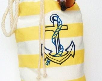 Anchor Tote Yellow Stripe, Large Anchor Tote, Yellow Stripe Beach Bag