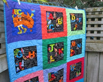 Baby Quilt  Australia Down Under ABC Made to Order