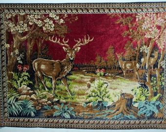 Vintage 60s Large Velvet Rug Wall Hanging Made in Italy