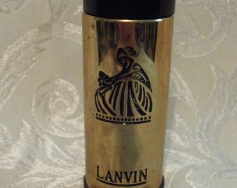 Antique Vintage 50s Lanvin Parfum Goldtone Glass Bottle