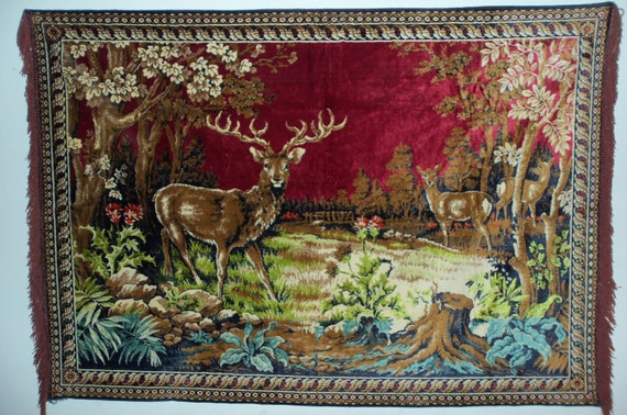 Hang Rug On Wall: Vintage 60s Large Velvet Rug Wall Hanging Made In Italy