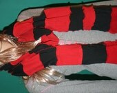 Upcycled Sweater Scarf Red Black LONG Repurposed Fashion Winter Warm Patchwork