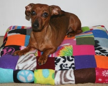 Patchwork Pet Bed Fleece Colorful Soft Upcycled Heavy Duty Filling Limited Edition