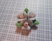 Ceramic Rose Cabochons Triple Flower Cluster of Sweet Pastel Purple Ceramic Roses Flat Back 18mm with Pink Center and Green Leaves - Qty 2