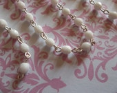 Opaque Chalk White 4mm Fire Polished Glass Beads on Silver Beaded Chain - Qty 18 Inch strand