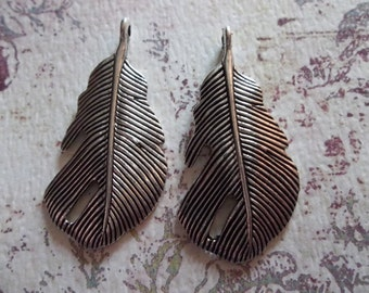Antiqued Silver Feather Pendants or Charms - Earring Size - Feather Connectors - Qty 4