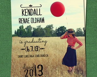 Graduation Custom Announcement, DIY Printable Personalized High School or College Commencement Card